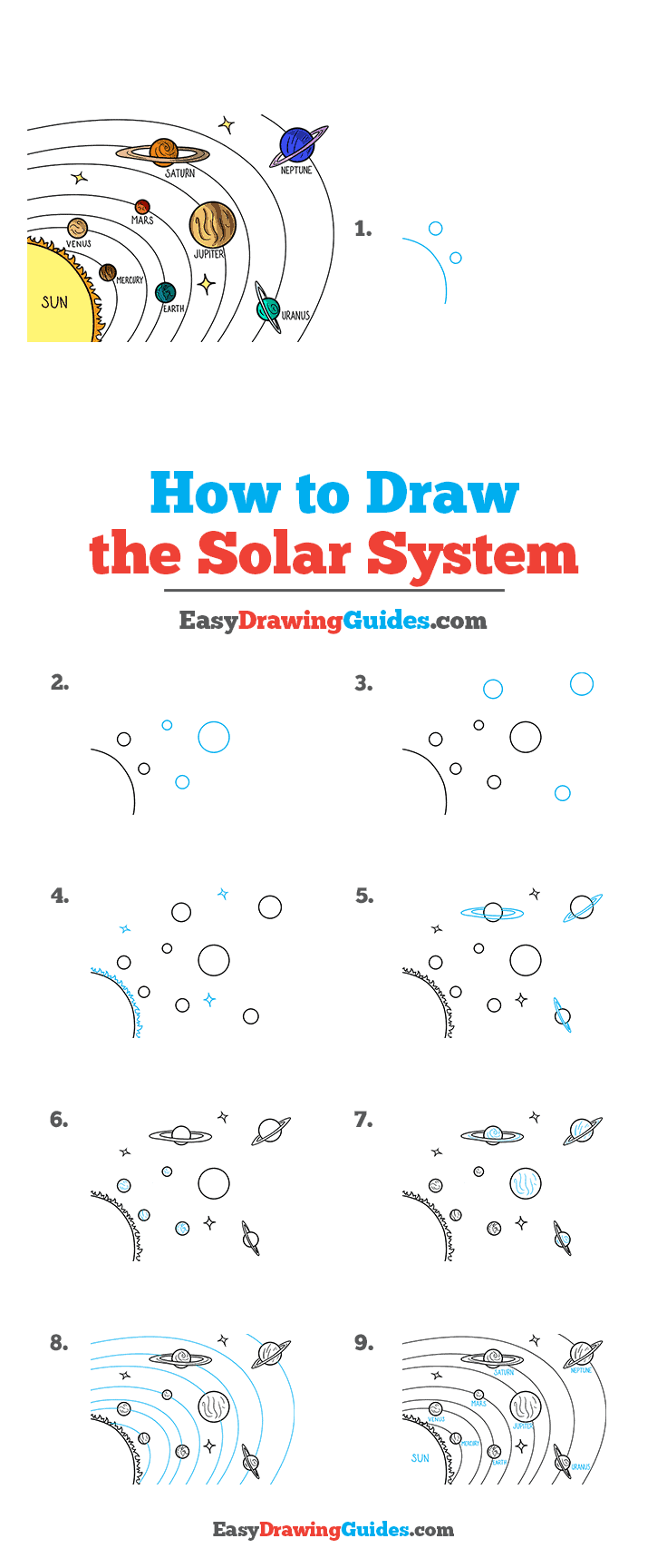 How to Draw the Solar System Step by Step Tutorial Image
