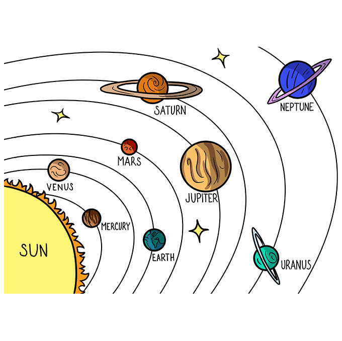 How to Draw the Solar System Step 10