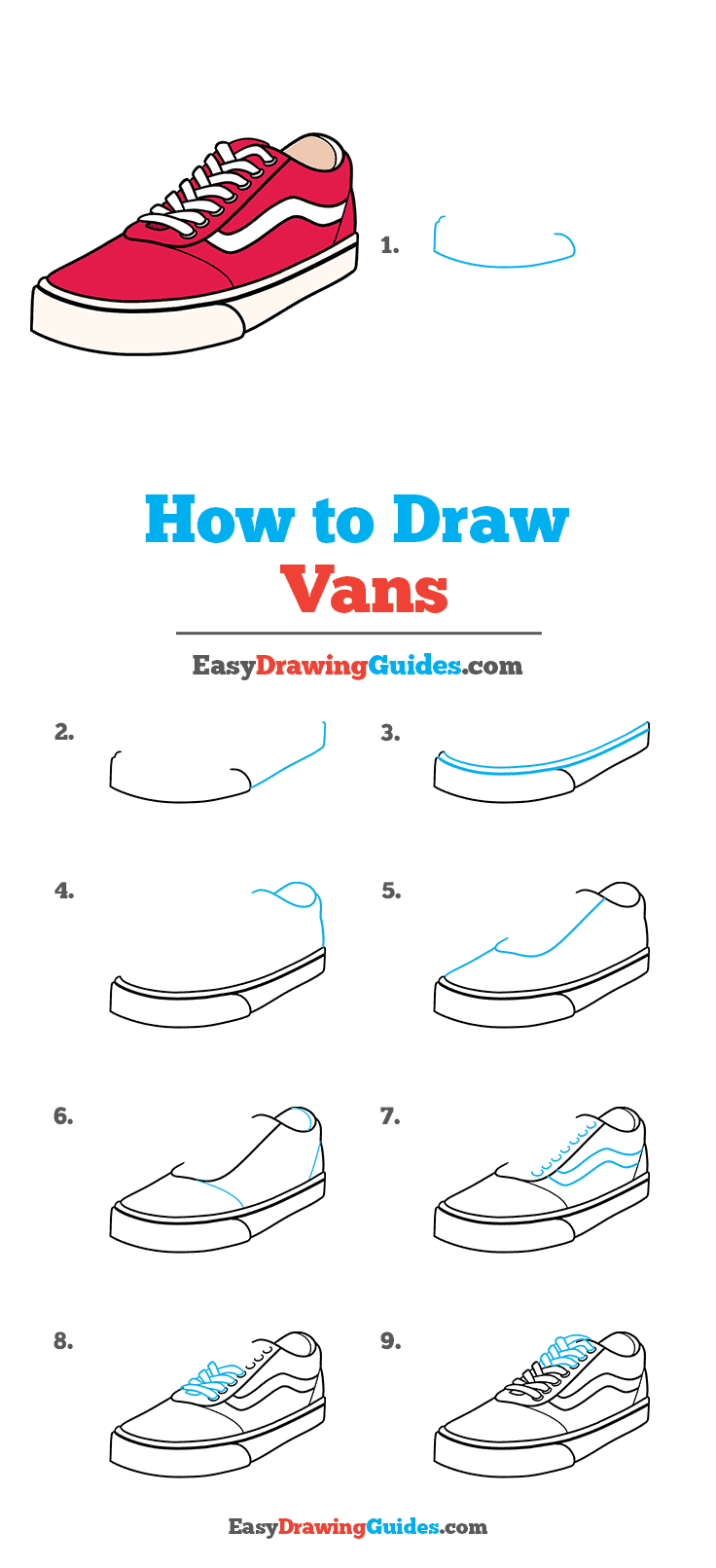 How to Draw Vans Step by Step Tutorial Image