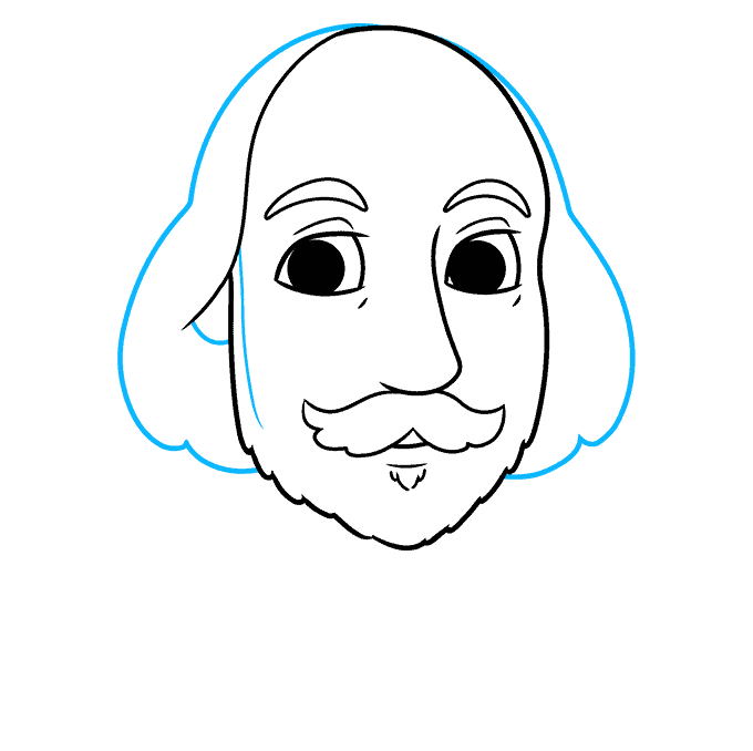 How to Draw William Shakespeare: Step 6