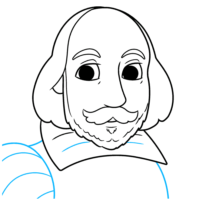 How to Draw William Shakespeare: Step 8