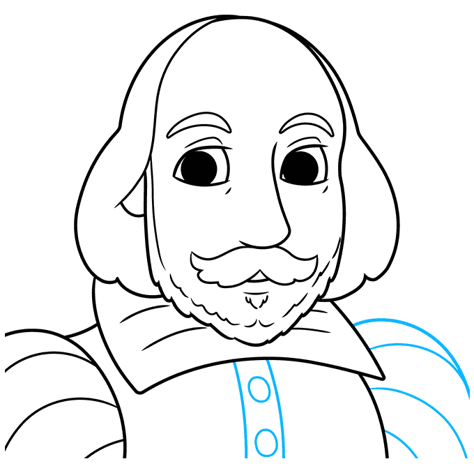 How to Draw William Shakespeare: Step 9