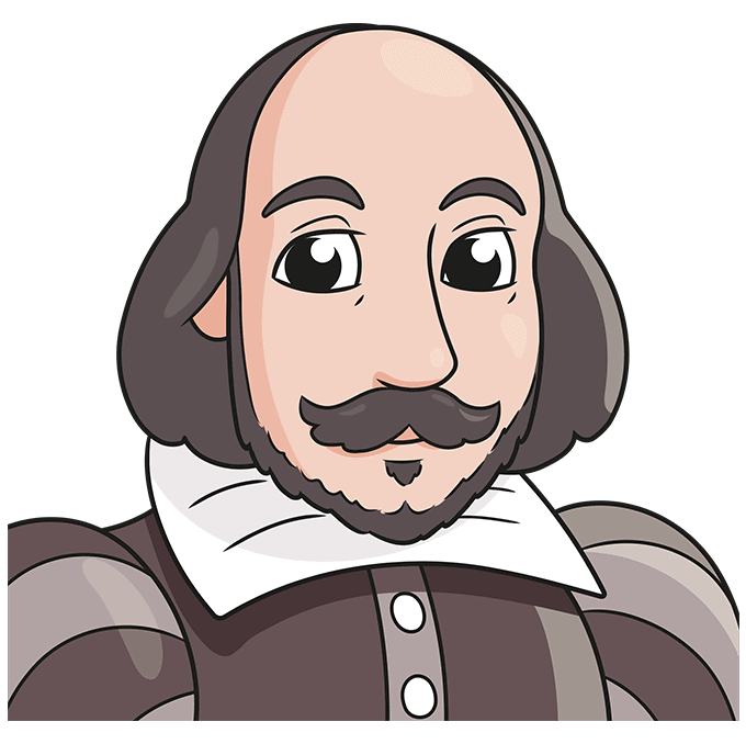 How to Draw William Shakespeare: Step 10