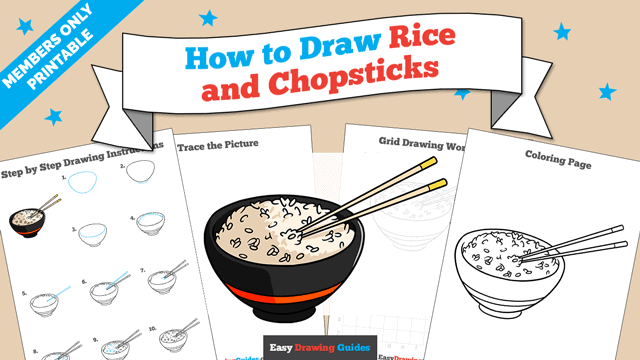 Printables thumbnail: How to Draw Rice and Chipsticks