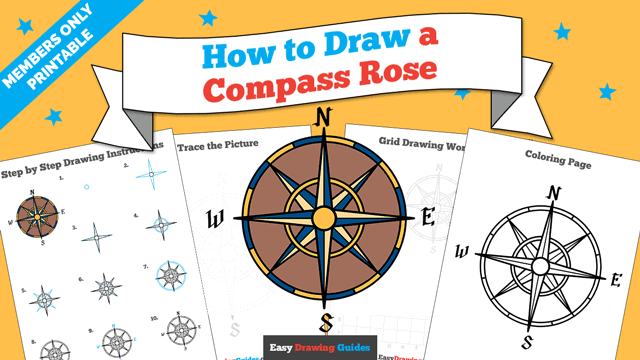 Printables thumbnail: How to Draw a Compass Rose