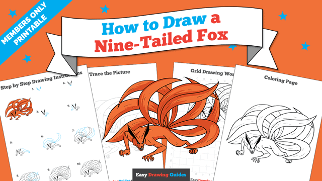 Printables thumbnail: How to Draw a Nine-Tailed Fox
