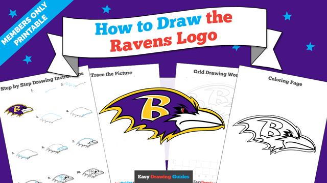 Printables thumbnail: How to Draw the Ravens Logo
