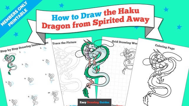 Printables thumbnail: How to Draw the Haku Dragon from Spirited Away