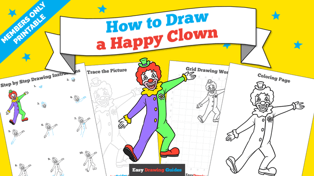 Printables thumbnail: How to Draw a Happy Clown