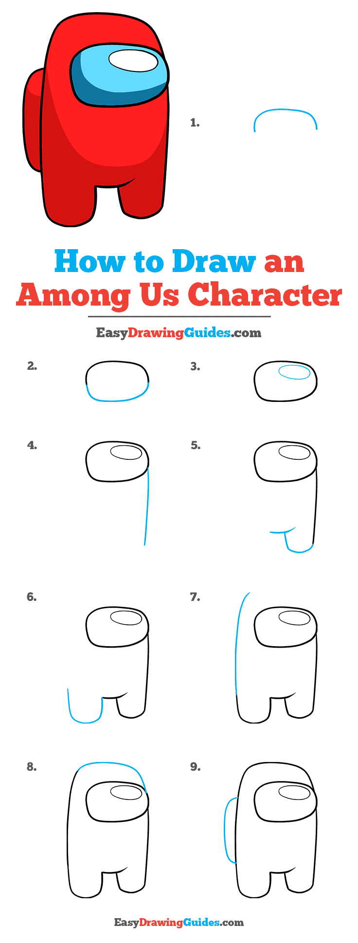 How to Draw an Among Us Character Step by Step Tutorial Image