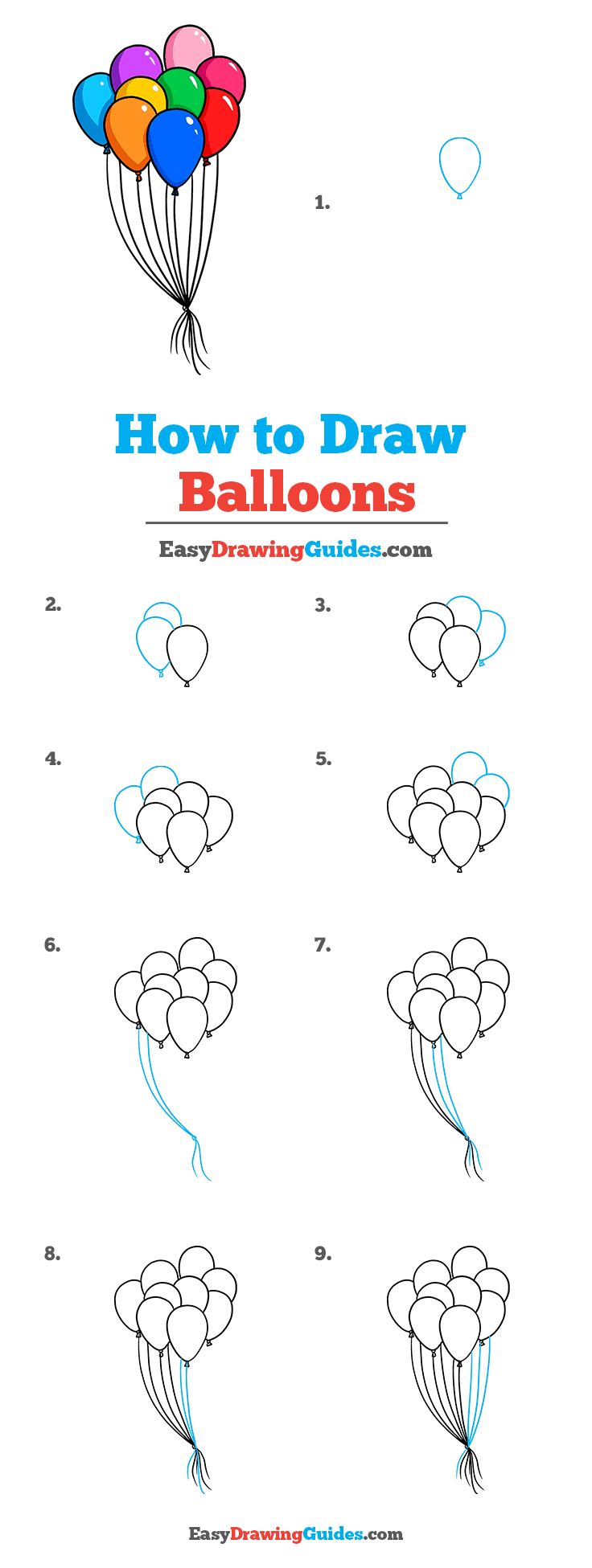 How to Draw Balloons Step by Step Tutorial Image