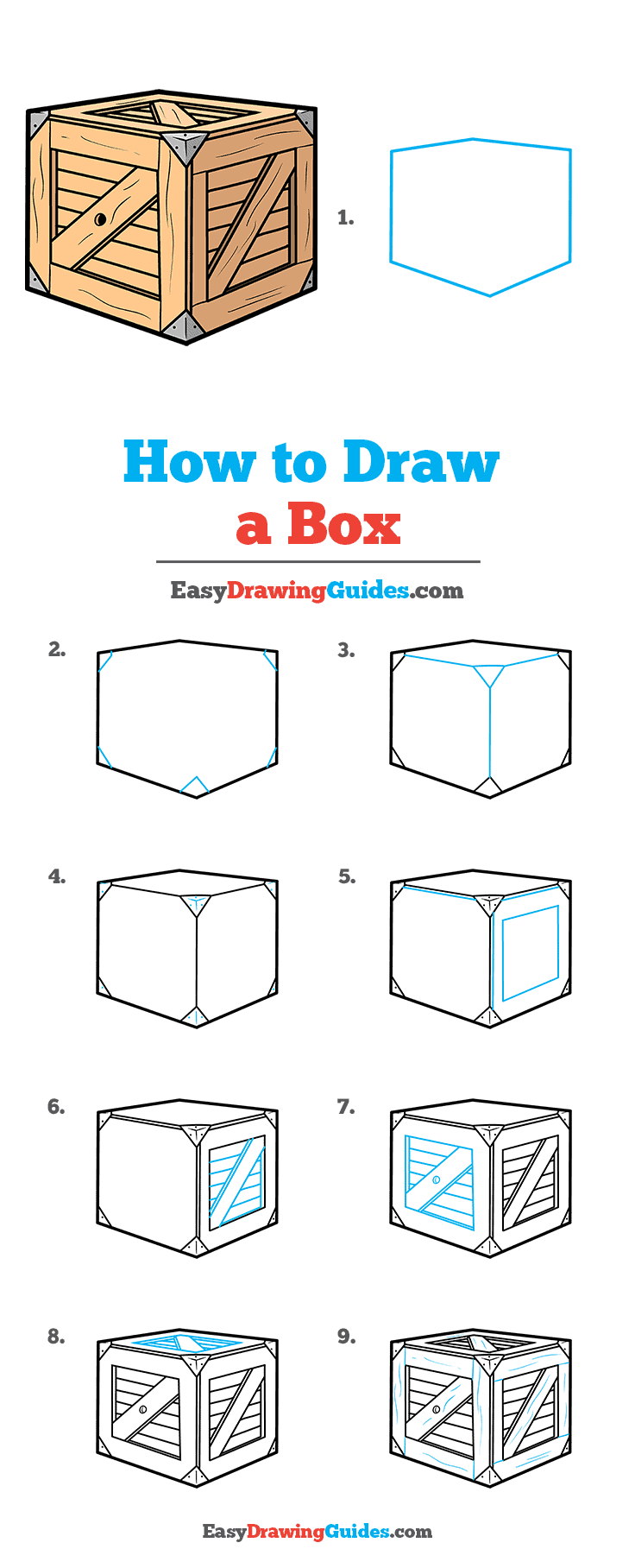 How to Draw a Box Step by Step Tutorial Image