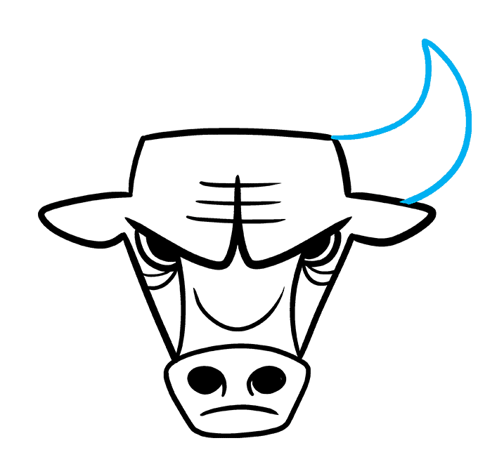 How to Draw the Chicago Bulls Logo Step 07