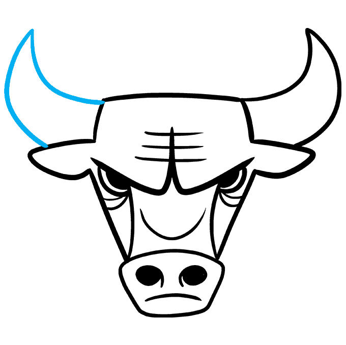 How to Draw the Chicago Bulls Logo Step 08