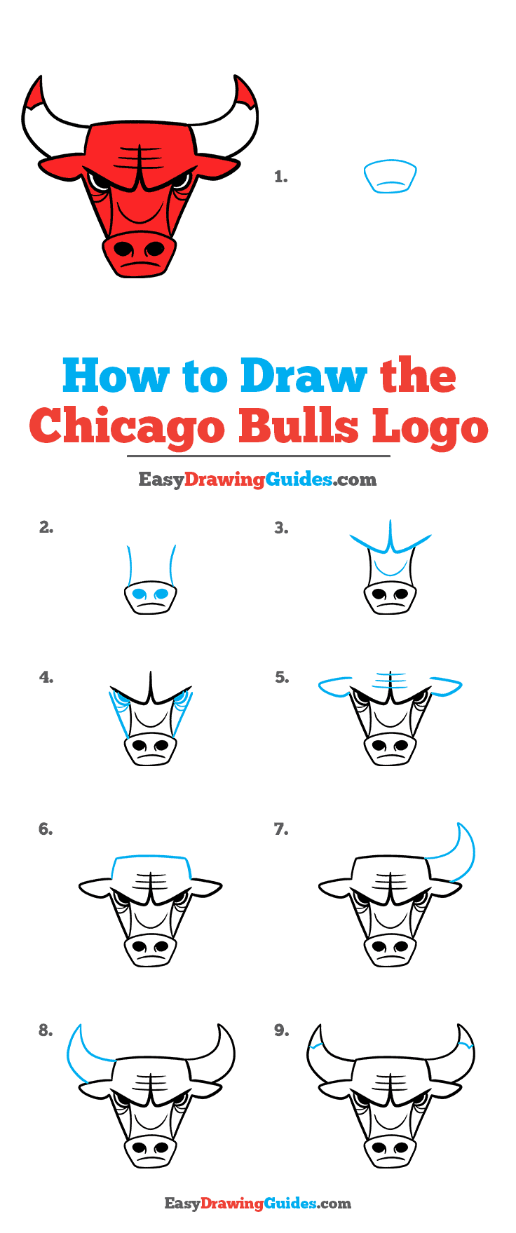How to Draw the Chicago Bulls Logo Step by Step Tutorial Image