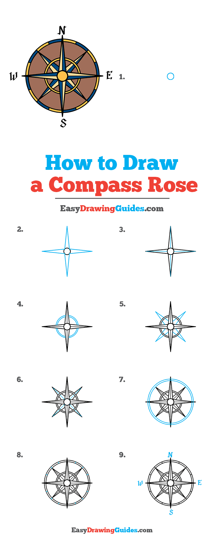 How to Draw a Compass Rose Step by Step Tutorial Image