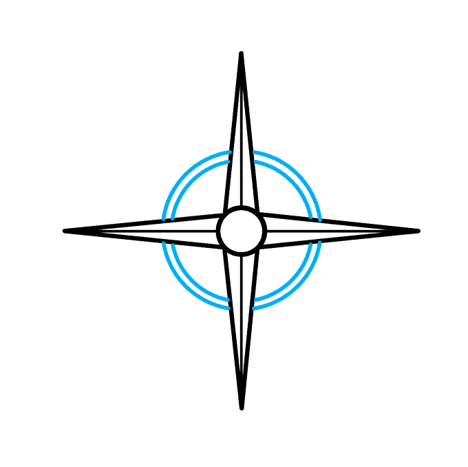 How to Draw a Compass Rose Step 04