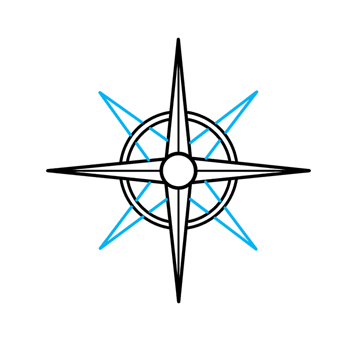 How to Draw a Compass Rose Step 05
