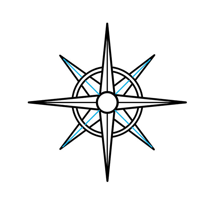 How to Draw a Compass Rose Step 06