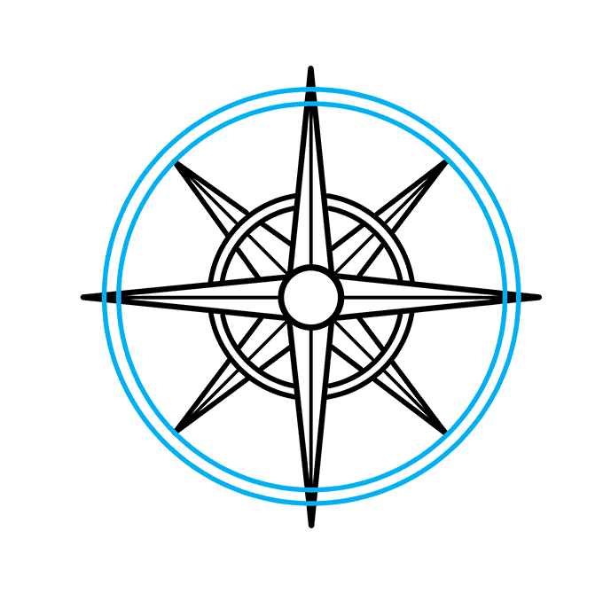 How to Draw a Compass Rose Step 07