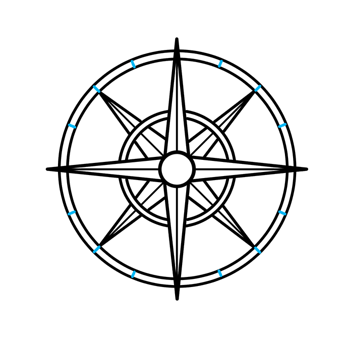 How to Draw a Compass Rose Step 08