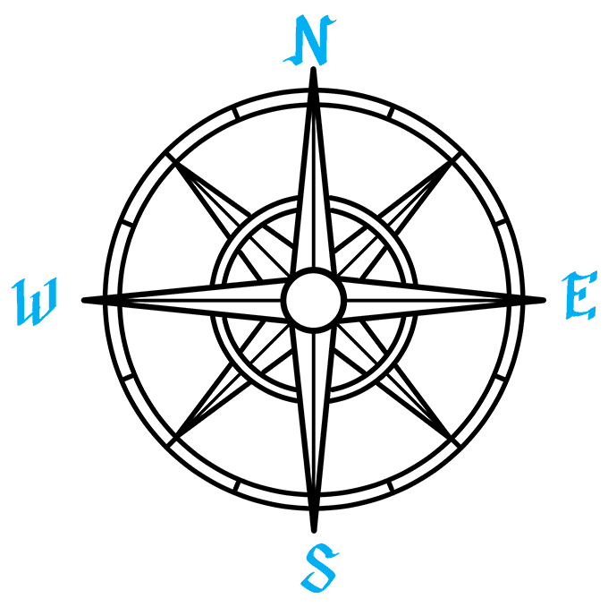 How to Draw a Compass Rose Step 09