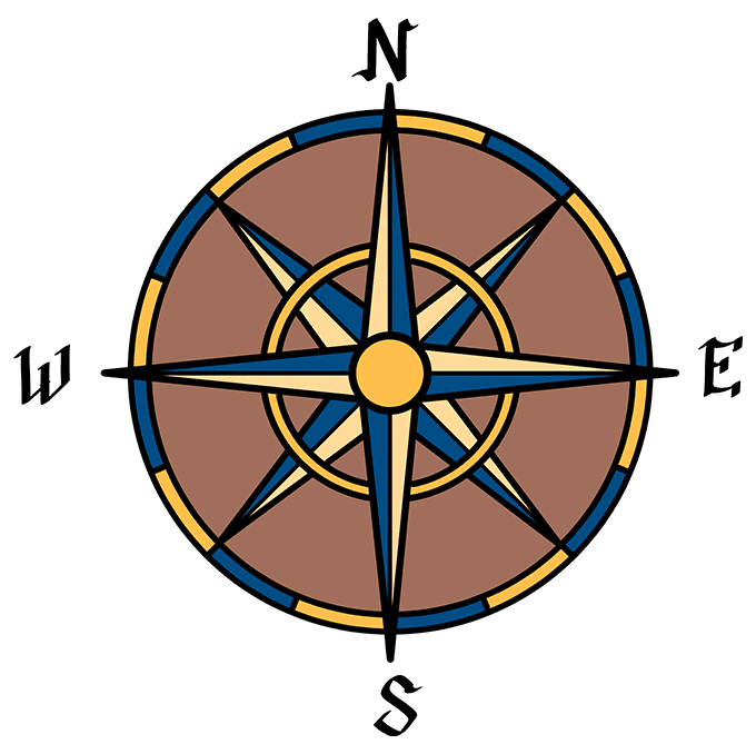 How to Draw a Compass Rose Step 10