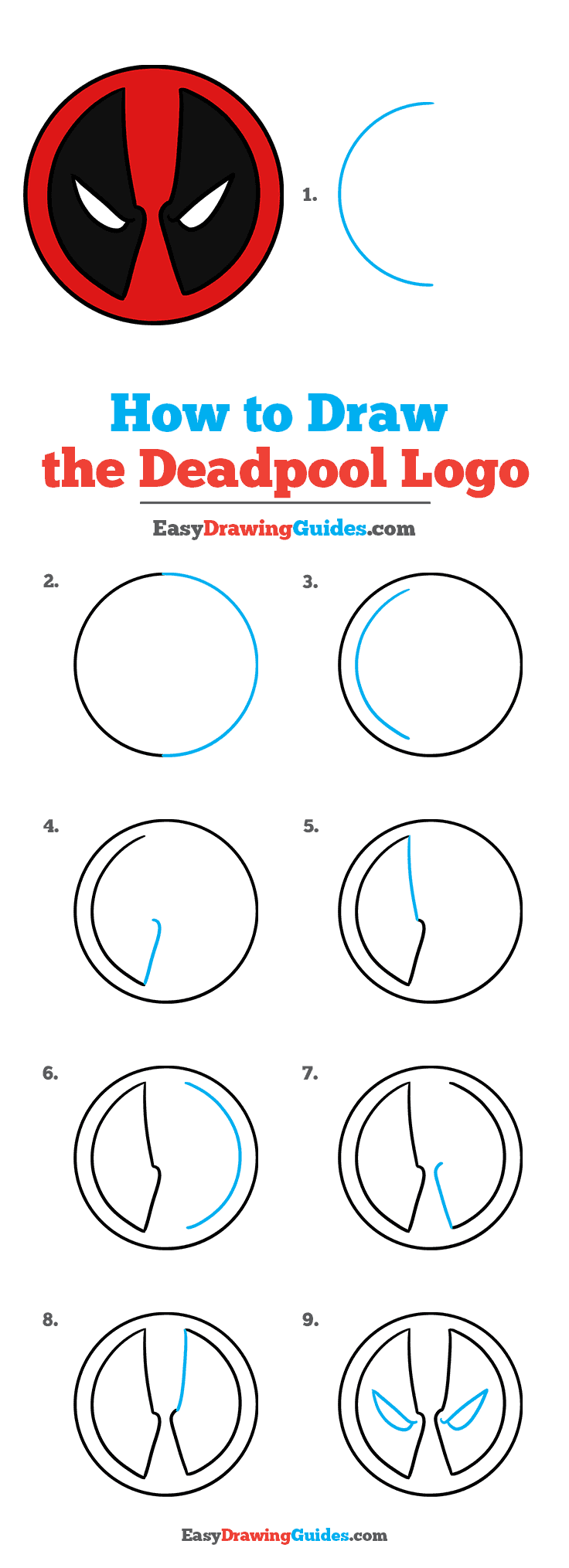 How to Draw the Deadpool Logo Step by Step Tutorial Image