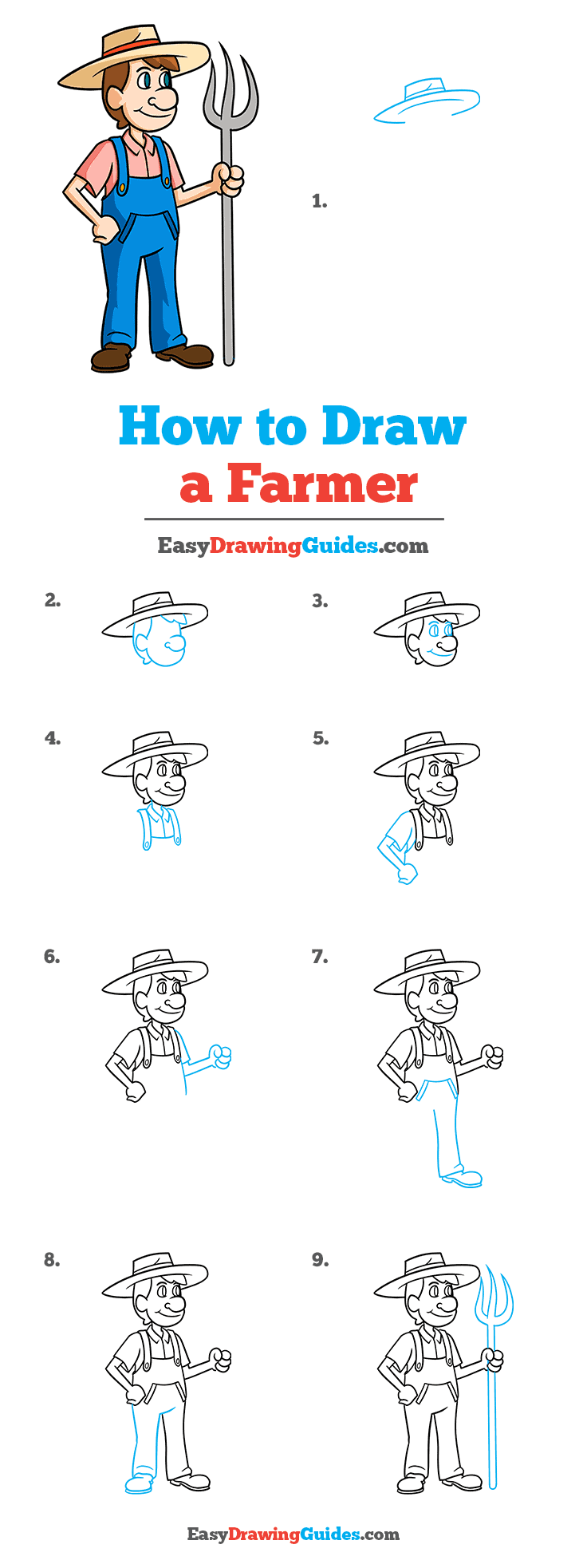 How to Draw a Farmer Step by Step Tutorial Image