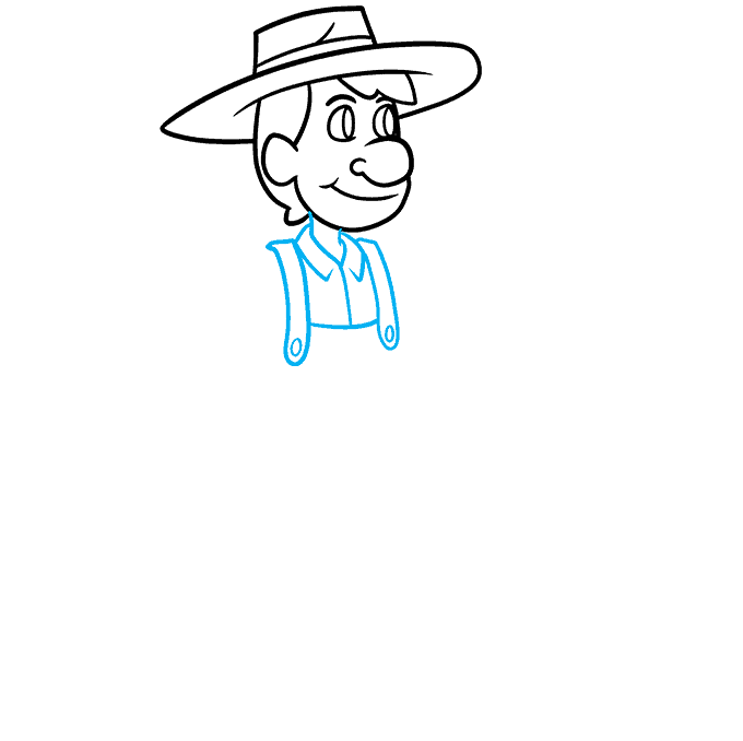 How to Draw a Farmer Step 04