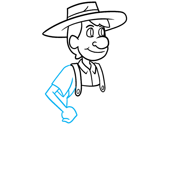 How to Draw a Farmer Step 05