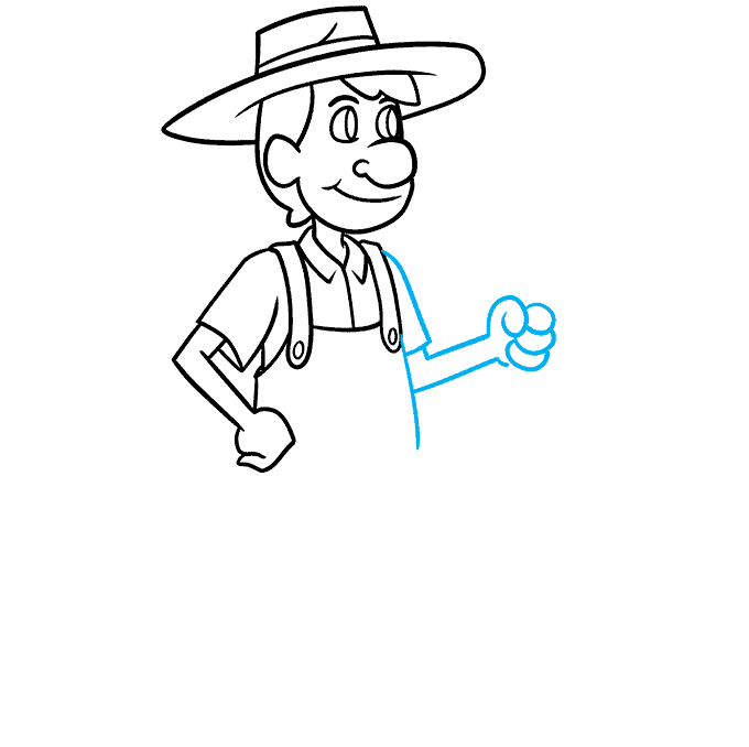 How to Draw a Farmer Step 06
