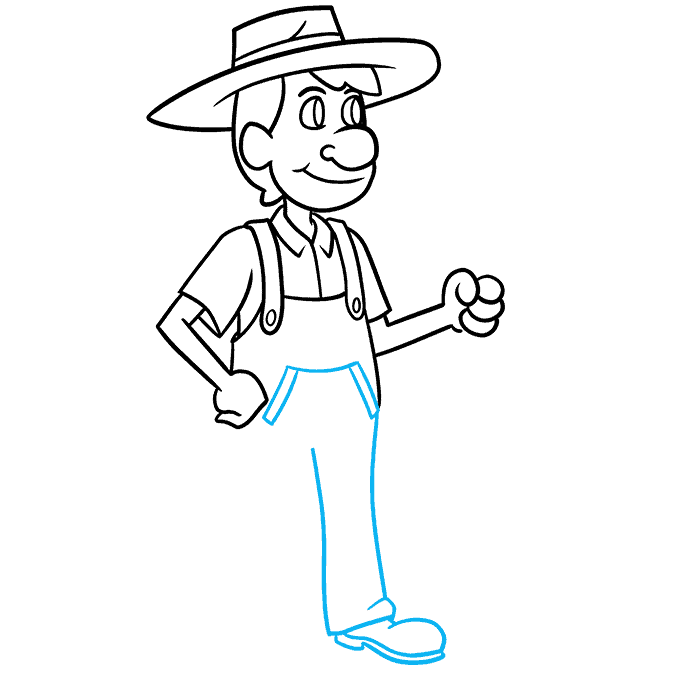 How to Draw a Farmer Step 07