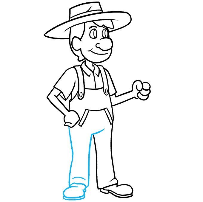How to Draw a Farmer Step 08