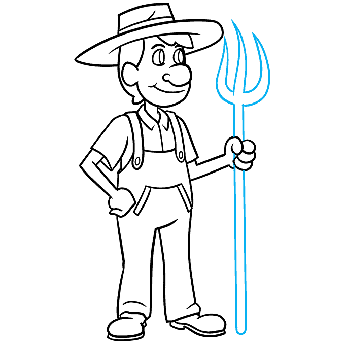 How to Draw a Farmer Step 09