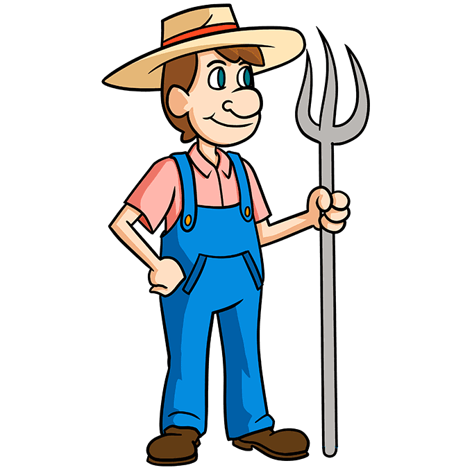 How to Draw a Farmer Step 10