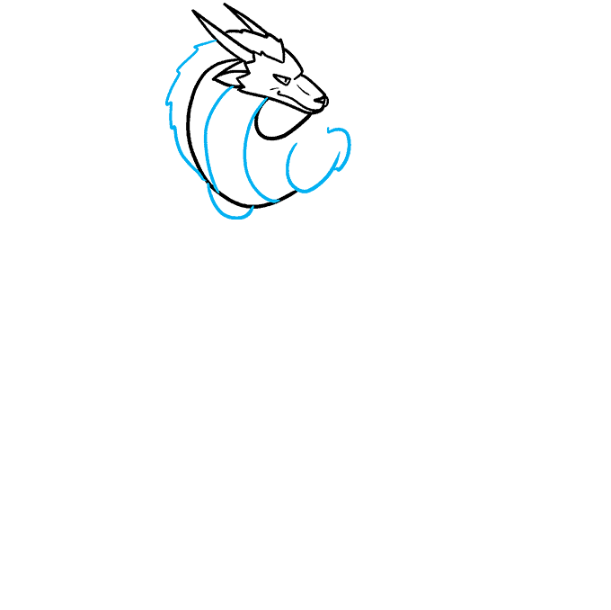 How to Draw the Haku Dragon from Spirited Away Step 03