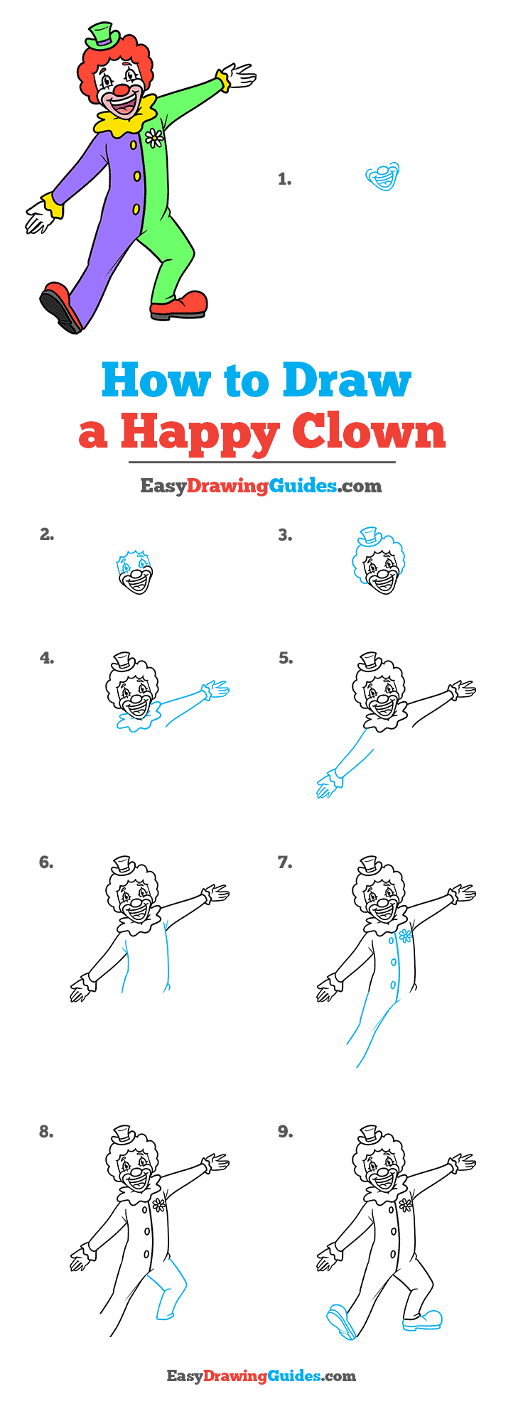 How to Draw a Happy Clown Step by Step Tutorial Image