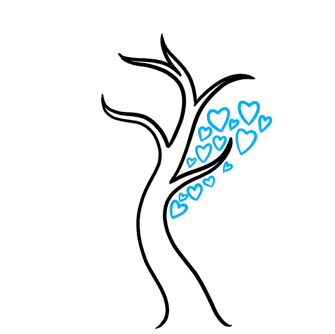 How to Draw a Heart Tree Step 04