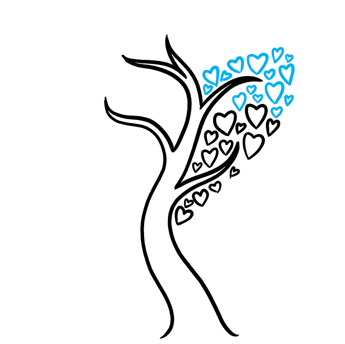 How to Draw a Heart Tree Step 05