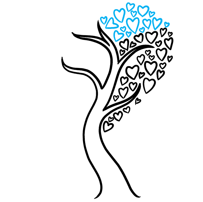 How to Draw a Heart Tree Step 06