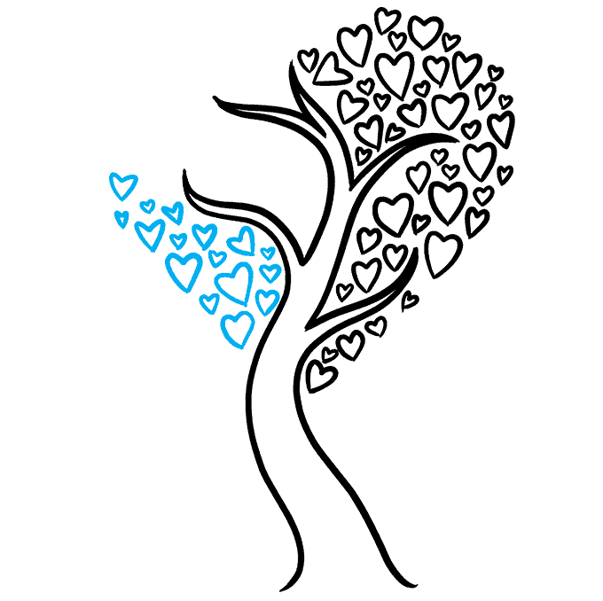How to Draw a Heart Tree Step 07