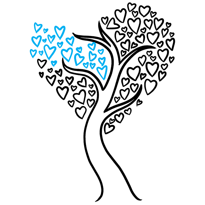 How to Draw a Heart Tree Step 08