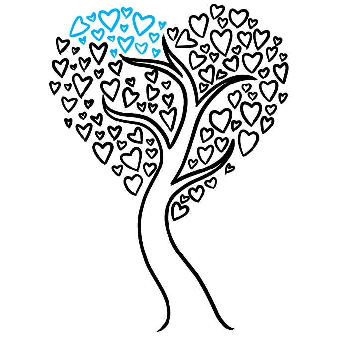 How to Draw a Heart Tree Step 09