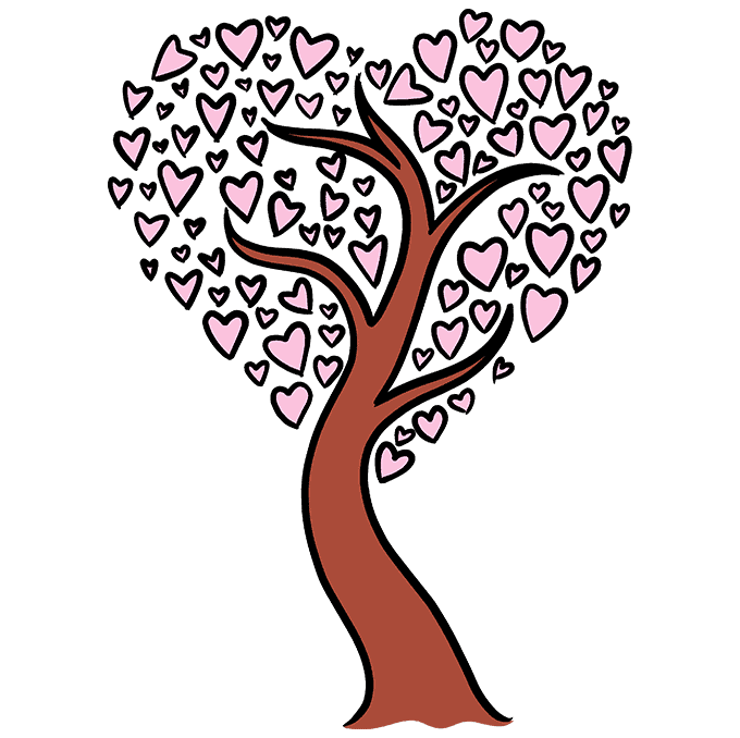 How to Draw a Heart Tree Step 10