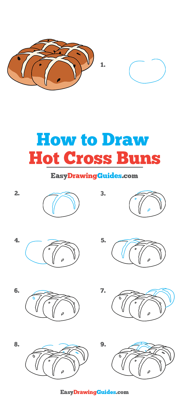 How to Draw Hot Cross Buns Step by Step Tutorial Image