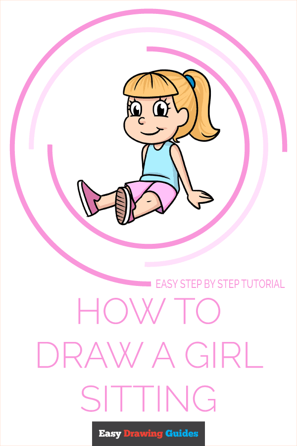 How to Draw a Girl Sitting Pinterest Image