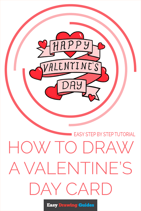 How to Draw a Valentine's Day Card Pinterest Image
