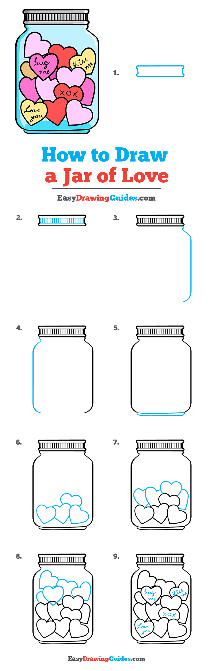 How to Draw a Jar of Love Step by Step Tutorial Image