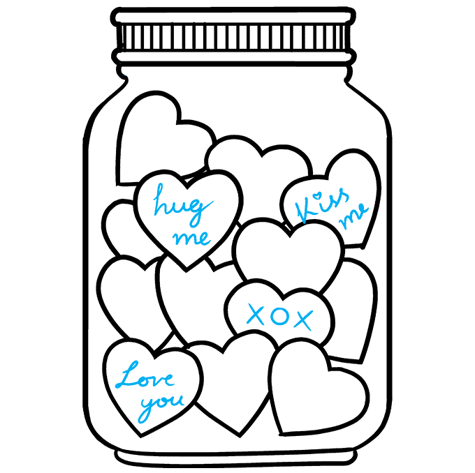 How to Draw a Jar of Love Step 09